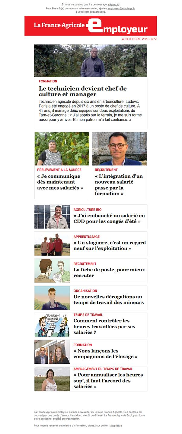 Newsletter FAE  n°La France Agricole Employeur n°7